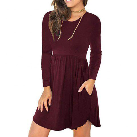New Solid Color Round Neck Pocket Elastic Waist Long Sleeve Dress - RED WINE S