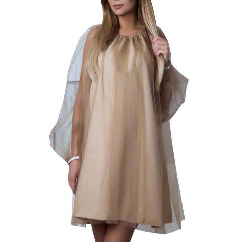 Women'S Slim Fit Show Thin Mesh Dress Lantern Sleeve - TAN S