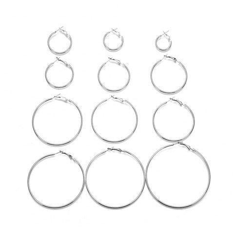 12-PIECE Set of Exaggerated Metal Ring Earrings for Women'S Fashion - SILVER 1 SET