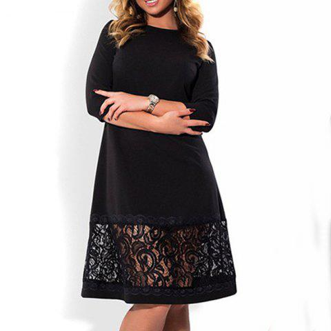 5XL 6XL Women Plus size Elegant sexy dress 2018 Summer office evening -  BLACK 4XL 3523932b44ac