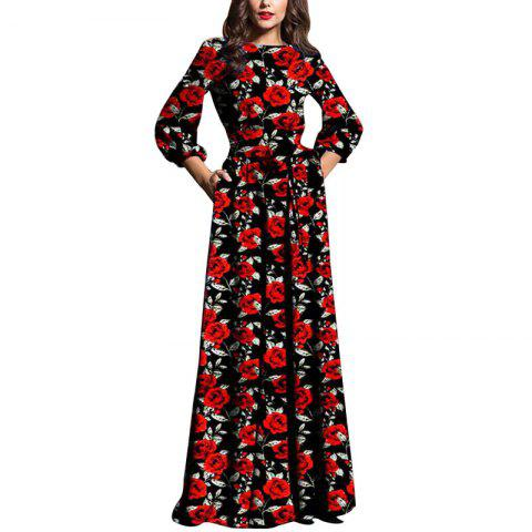 Evening Maxi Black Dresses Women Autumn Winter Dress Elegant Floral - RED S