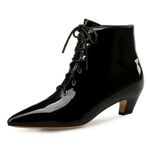Pointed Deep Mouth Lace Cat with Women'S Booties - BLACK EU 41