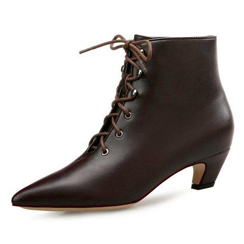 Pointed Deep Mouth Lace Cat with Women'S Booties - BROWN EU 36