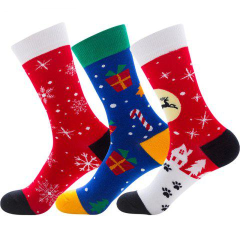 Christmas Decoration Pattern Print Long Socks 3 Pairs - multicolor