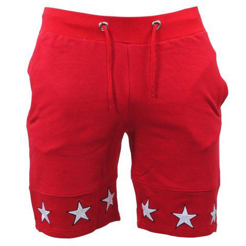 Mens Shorts Gyms Fitness Bodybuilding Workout Sporting Pants Sweatpants Sport - RED M