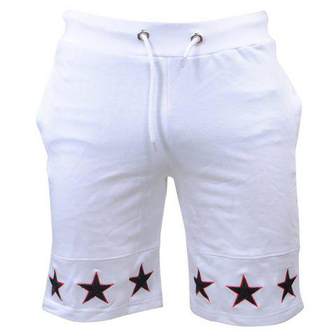 Mens Shorts Gyms Fitness Bodybuilding Workout Sporting Pants Sweatpants Sport - WHITE S