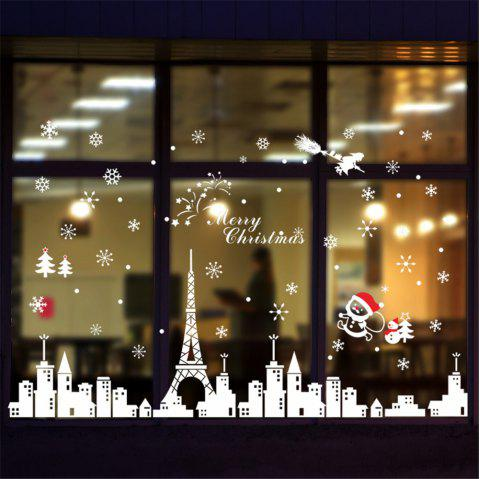 Merry Christmas City Snow Glass Window Sticker Home Decoration - multicolor A 24 X 36 INCH