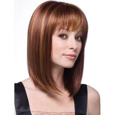 Stylish Natural Synthetic Straight Hair Style Wig-010a - BROWN