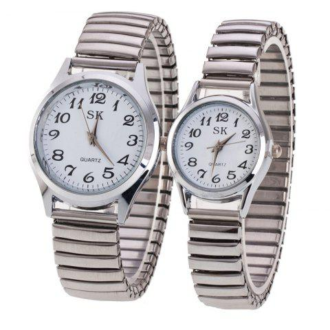 Fashion Spring Steel Band Simple Digital Scale Universal Lovers Watch - WHITE MAN
