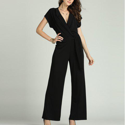 SBETRO Solid Office Jumpsuit with Tie Turn Down Collar Deep V Neck Short Sleeve - BLACK L