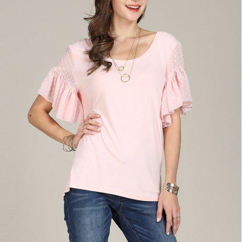 SBETRO Solid Flare Sleeve Polka Dots Sleeve Casual Shirt - LIGHT PINK L