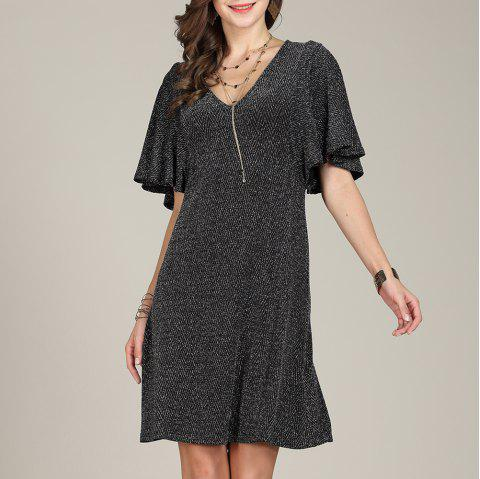 SBETRO Fishtail Club Dress Deep V Neck Bell Sleeve Party - BLACK L