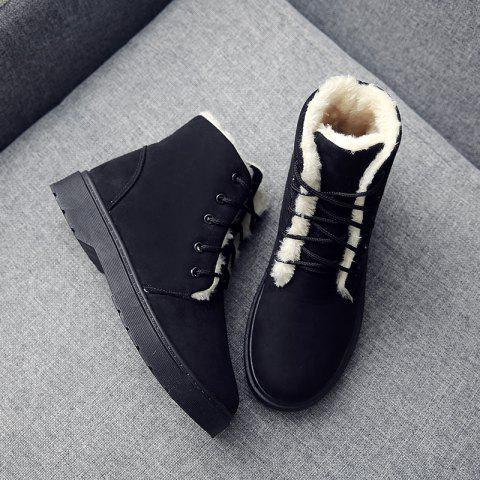 Winter New Warm Snow Boots High To Help Outdoor Casual Shoes Cotton Shoes Wo - BLACK EU 40