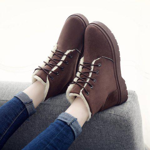 Winter New Warm Snow Boots High To Help Outdoor Casual Shoes Cotton Shoes Wo - BROWN EU 38