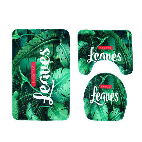 Small Fresh Printed Non-Slip Absorbent Toilet Seat Combination Three-Piece - PINE GREEN 1 SET