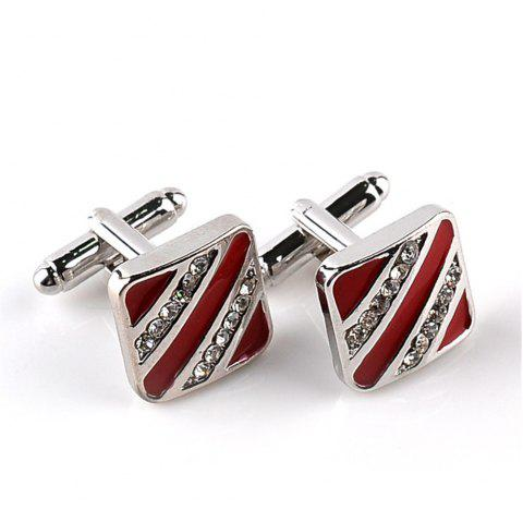 Men'S and Women'S Fashion Shirts Are Glazed with Diamond Cufflinks - RED