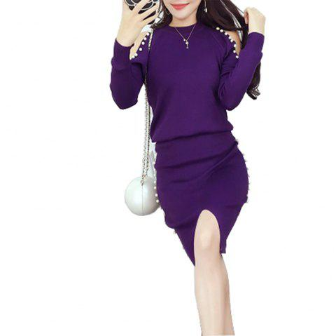 Women's Beaded Off Shoulder Long Sleeve Knit Skirt Set - PURPLE IRIS ONE SIZE
