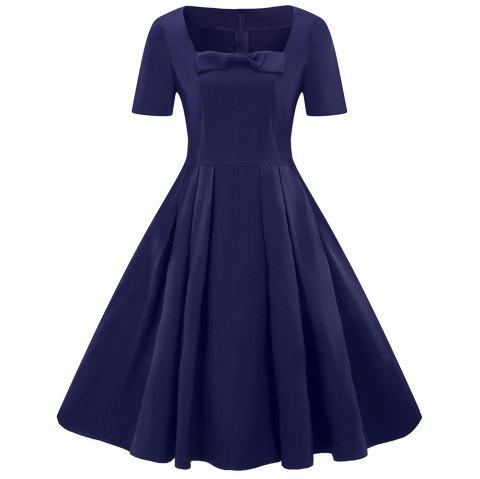 Summer Short-Sleeved Vintage Dress Hot Big Size Big Swing Skirt - NAVY BLUE S