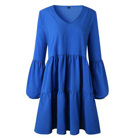 Fashionable Chiffon Cake Dress - OCEAN BLUE L