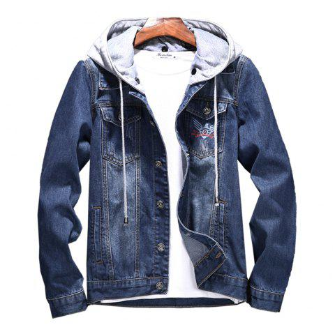 High quality custom printed men's jean jacket warm cotton with hood