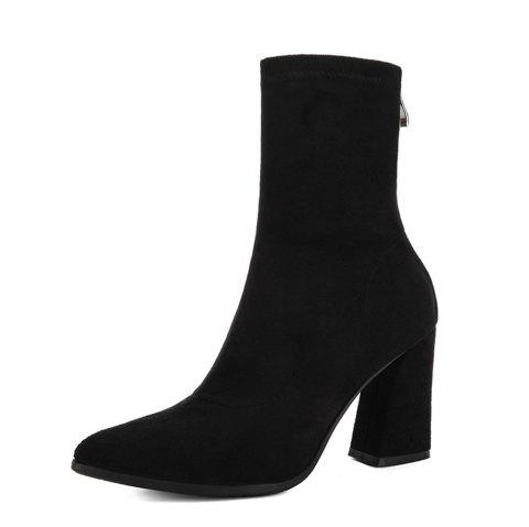 Thick with Ankle Boots Female High Heel Wild Bare Boots Fashion Cotton Boots Poi - BLACK EU 37