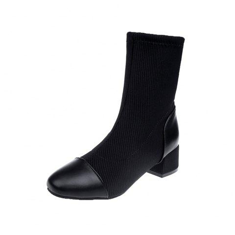 2018 Autumn and Winter New Thick Heel Boots Women'S Boots in The Tube Elastic Bo - BLACK EU 38