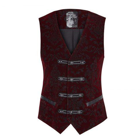 Palace Noble Flower Pattern Printing Waistcoat for Men - RED WINE M