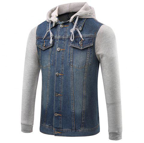 Men's Button Stitching Hooded Lapel Long Sleeve Denim Jacket - DENIM DARK BLUE M
