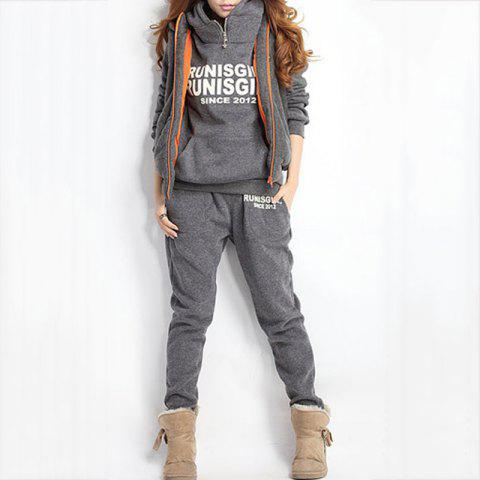 Autumn and Winter Casual Hooded Sweater Sports Fashion Plus Three Sets of Hair - GRAY XL