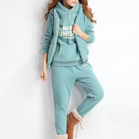 Autumn and Winter Casual Hooded Sweater Sports Fashion Plus Three Sets of Hair - LIGHT SEA GREEN M