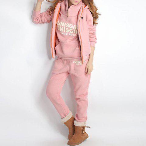 Autumn and Winter Casual Hooded Sweater Sports Fashion Plus Three Sets of Hair - PINK ROSE L