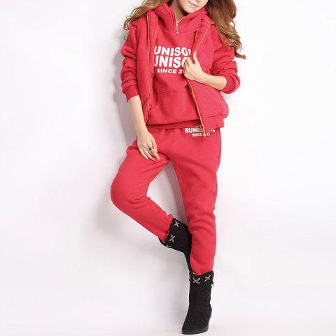 Autumn and Winter Casual Hooded Sweater Sports Fashion Plus Three Sets of Hair - ROSSO RED M