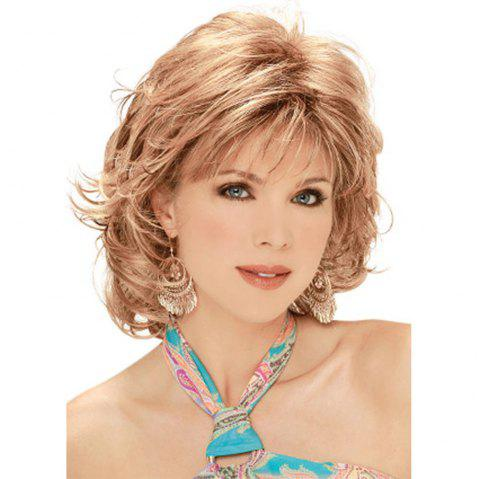 Women Have Short Curly Hair with Sloping Bangs WIG-8978 - PLATINUM