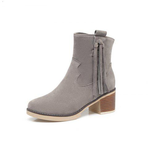 Coarse Fringed Suede Short Boots - GRAY EU 36