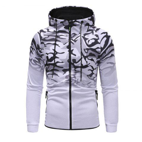 Men'S Camouflage Design Casual Slim Hooded Pullover Sweater - WHITE 2XL