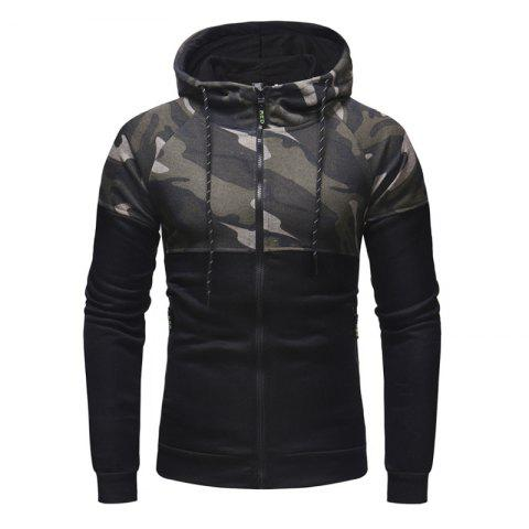 Men'S Classic Camouflage Casual Slim Zipper Hoodie Sweater - BLACK L