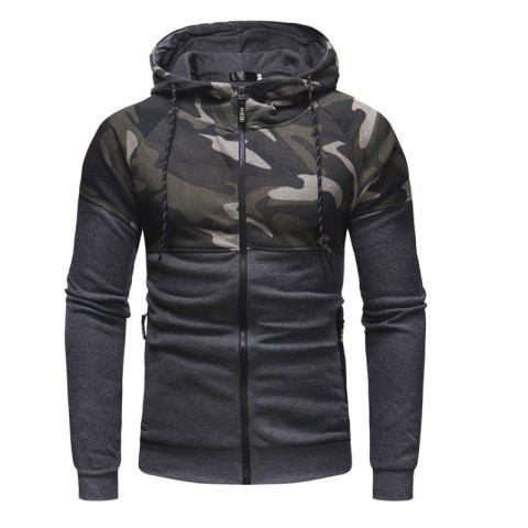 Men'S Classic Camouflage Casual Slim Zipper Hoodie Sweater - DARK GRAY 2XL
