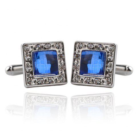 Square Fashion Business Diamond Cufflinks - SILVER
