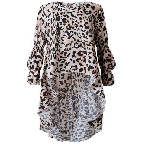 New Leopard Print Long Sleeve Irregular Dress - LEOPARD S