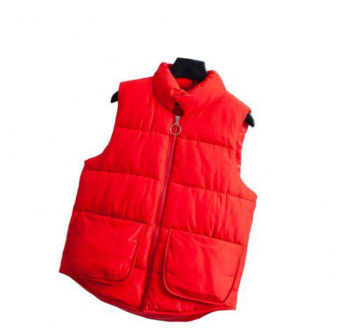 Ladies Mini Students Loose Sleeveless Vest Cotton Vest - RED M