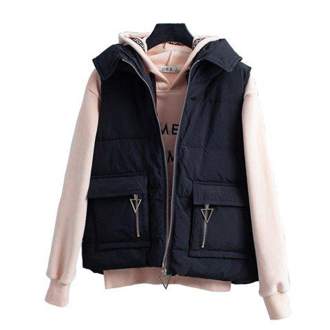 Loose Women Short Down Vest - Gilet de poche - Noir L