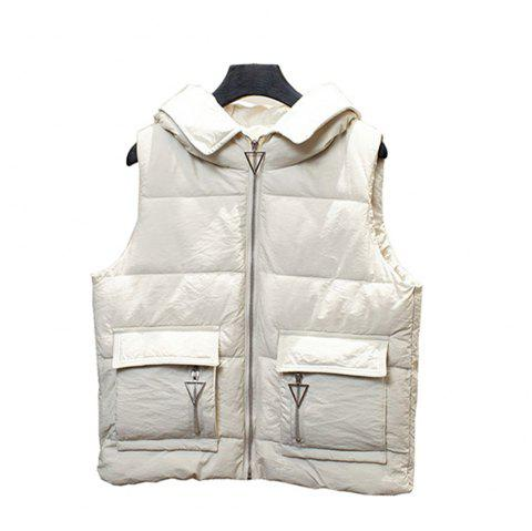 Loose Women Short Down Vest Pocket Vest Waistcoat - WARM WHITE S