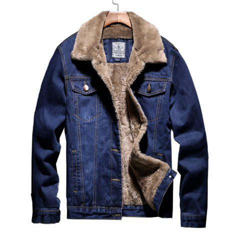 Latest Designing Winter Heavy Cotton Windproof Jeans Jacket For Men - JEANS BLUE 2XL