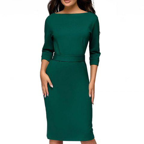 Autumn Winter Ladies Dresses 2018 Work Pencil Dress Long Sleeve Midi Slim Women - GREEN S