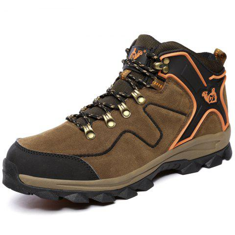Men Fur Insol Autumn Winter Big Size Camouflage Casual Warm Outdoor Ankle Boots - BROWN EU 45