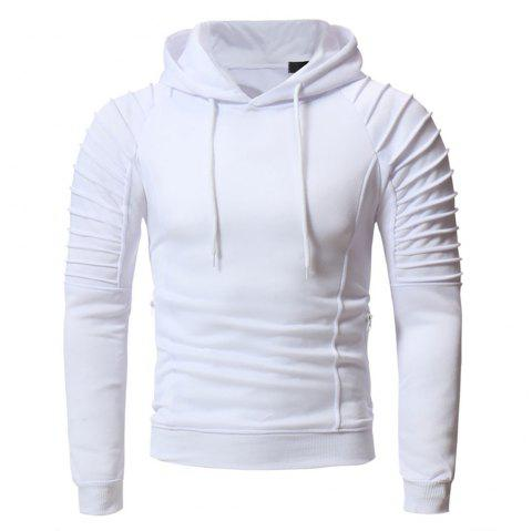 Men'S Fashion Personality Pleated Design Casual Slim Hoodie - WHITE 2XL