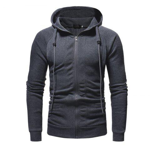 Men'S Casual Slim Zipper Hoodie - DARK GRAY L