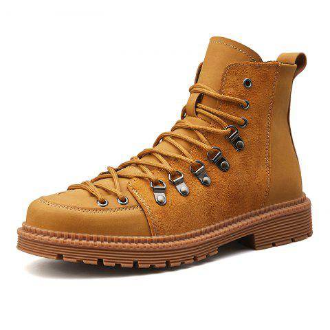 Men Lace Trend  Low-Heeled Casual Shoes Tooling Boots - YELLOW EU 44