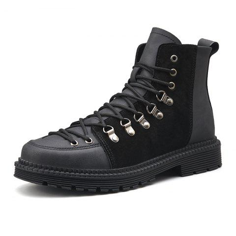 Men Lace Trend  Low-Heeled Casual Shoes Tooling Boots - BLACK EU 42