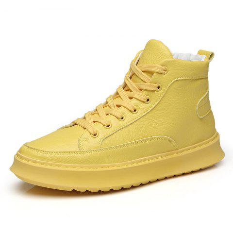 Fashionable Gaobang Simple Casual Men'S Shoes - YELLOW EU 43